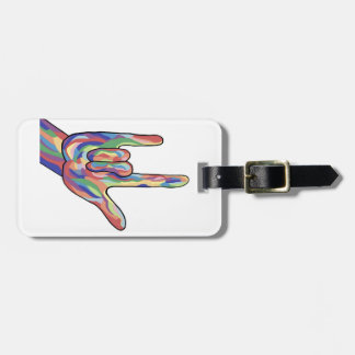 ASL I Love You Muted Tones Luggage Tag