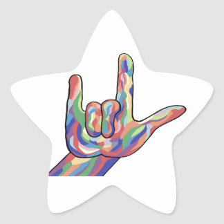 ASL I Love You Muted Tones Star Sticker