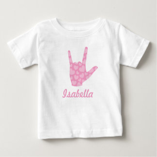 """ASL """"I Love You"""" Pink Hearts and Name Baby T-Shirt"""