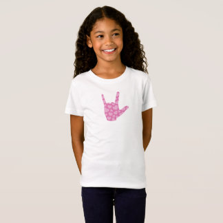 "ASL ""I Love You"" Pink Hearts Girls' Name T-Shirt"