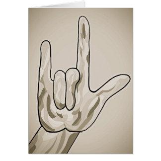 ASL I Love You Sepia Card