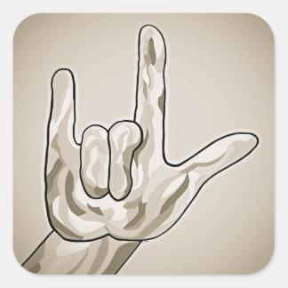 ASL I Love You Sepia Square Sticker