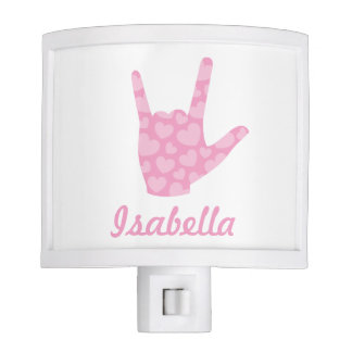 ASL I Love You Sign Language Girl Name Night Light