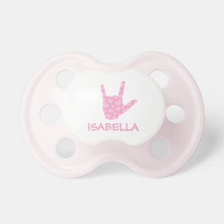 ASL I Love You Sign Language Girl Name Pacifier