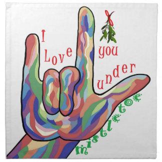 ASL I Love You Under Mistletoe Napkin