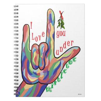 ASL I Love You Under Mistletoe Notebook