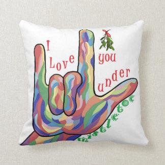 ASL I Love You Under Mistletoe Throw Pillow