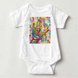 ASL I Love You with Bubble Background Baby Bodysuit