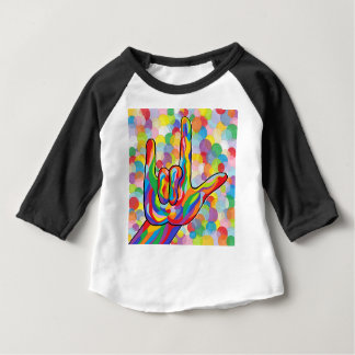 ASL I Love You with Bubble Background Baby T-Shirt