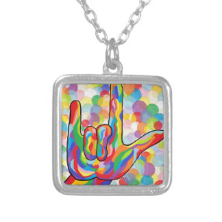 ASL I Love You with Bubble Background Silver Plated Necklace