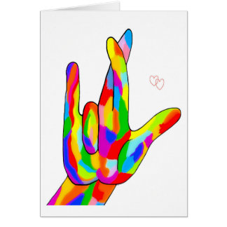 ASL I Really Love You Bright Colors Card