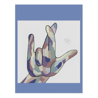 ASL I REALLY LOVE YOU Denim Postcard