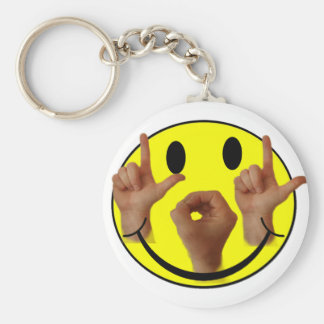 ASL LOL SMILEY FACE BASIC ROUND BUTTON KEYCHAIN