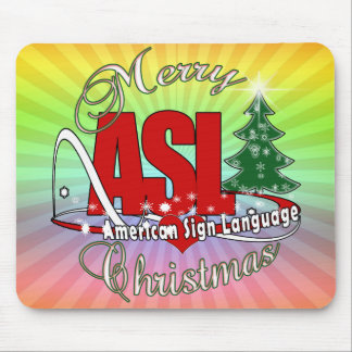 ASL MERRY CHRISTMAS - AMERICAN SIGN LANGUAGE MOUSE PAD