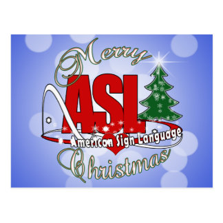 ASL MERRY CHRISTMAS - AMERICAN SIGN LANGUAGE POSTCARD