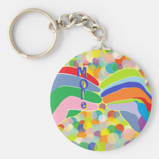 """ASL """"MORE"""" on a Bright Bubble Background Keychain"""