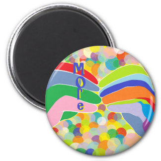 """ASL """"MORE"""" on a Bright Bubble Background Magnet"""