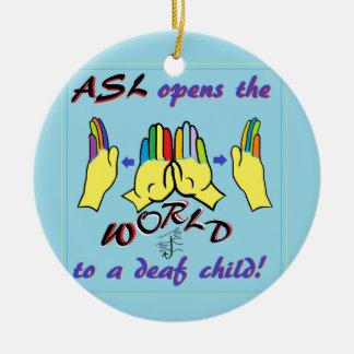 ASL Opens the World Round Ceramic Ornament