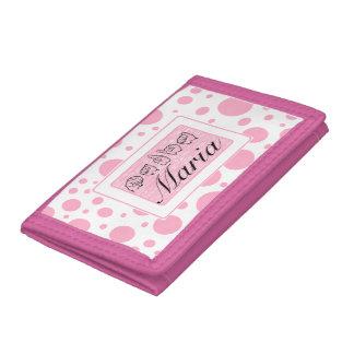 ASL Princess Pink Polka Dots Maria Fingerspelled Tri-fold Wallet