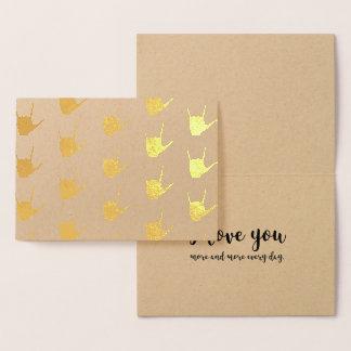 ASL Sign Language I Love You Gold Foil Kraft Card