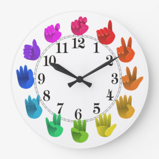 ASL Sign language rainbow color wheel light Wallclock