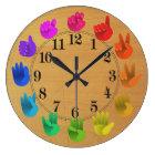 ASL Sign language rainbow colour wheel wood Large Clock