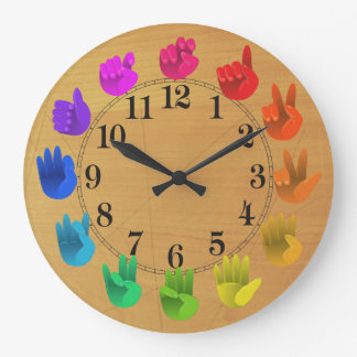 ASL Sign language rainbow colour wheel wood Wallclock