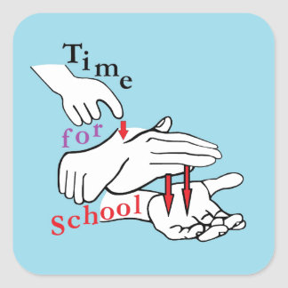 ASL Time for School Square Sticker