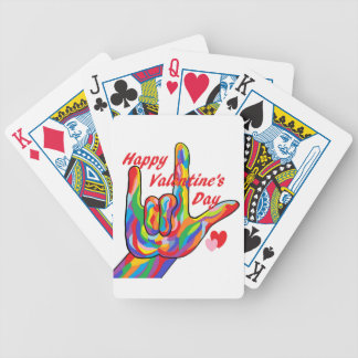 ASL Valentine's Day I Love You Bicycle Playing Cards