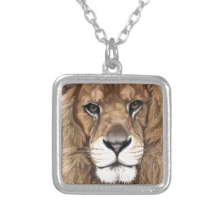 Aslan the Lion Original Pastel Art Silver Plated Necklace