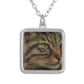 Aslan The Long Haired Tabby Cat Silver Plated Necklace