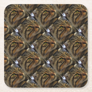 Aslan The Long Haired Tabby Cat Square Paper Coaster