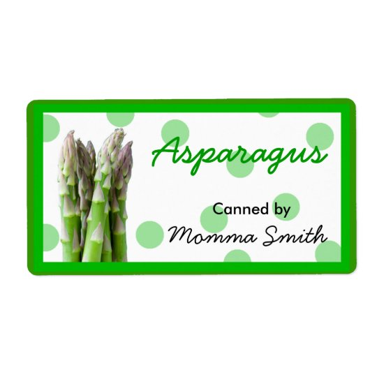 Asparagus Custom Canning Labels