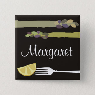 Asparagus fork lemon culinary name tag badge 2 inch square button