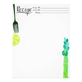 Asparagus fork lemon vegetable recipe letterhead
