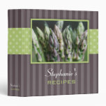 Asparagus Polka Dot Stripe Recipe Binder