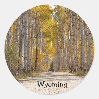 Aspen Alley In Autumn Round Sticker