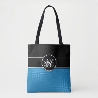 Aspen Blue Monogram Tote Bag