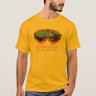 Aspen Colorado orange snow goggle guys tee