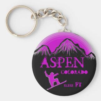 Aspen Colorado purple snowboard art keychain
