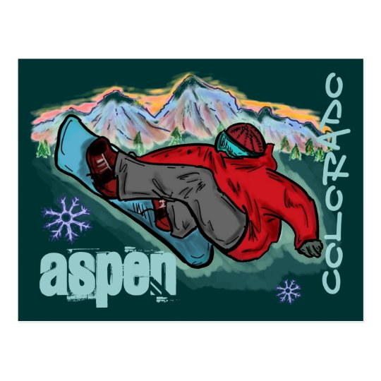 Aspen Colorado snowboarder shred postcard