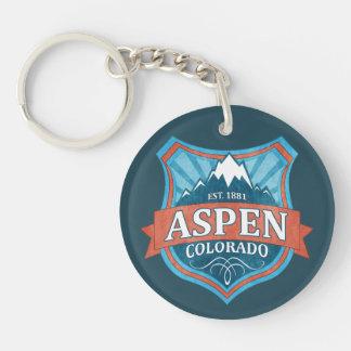 Aspen Colorado teal grunge shield keychain