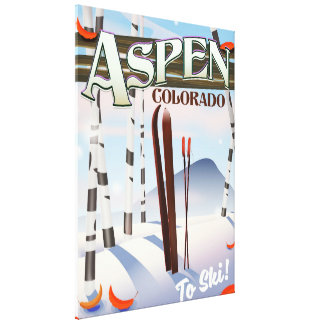Aspen Colorado vintage style ski poster Canvas Print