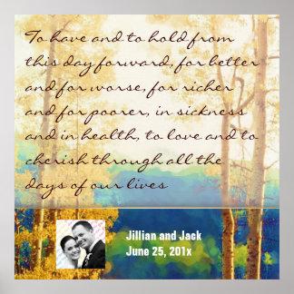 Aspen Glow WEDDING Vows Display Poster