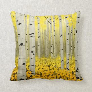 Aspen Grove in Fall Yellow Throw Pillow