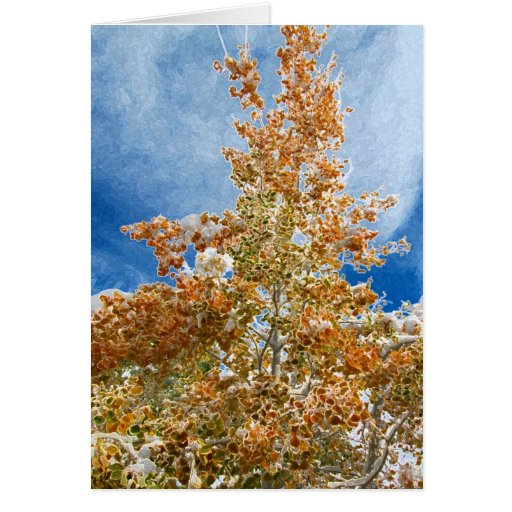 Aspen in Autumn, Early Snow Greeting Card
