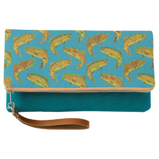 Aspen Leaf Rainbow Trout Seamless Pattern 2018 Clutch