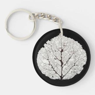 Aspen Leaf Skeleton 1 Double-Sided Round Acrylic Keychain