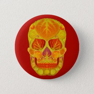 Aspen Leaf Skull 13 2 Inch Round Button