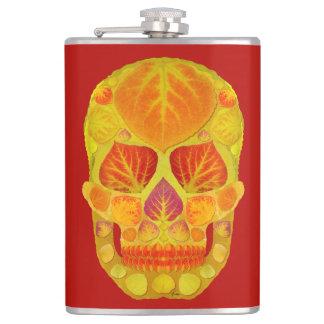 Aspen Leaf Skull 13 Hip Flask
